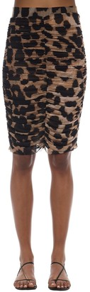 Ganni Ruched Leopard Print Midi Skirt