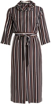 Nina Ricci Striped exaggerated-collar silk midi dress
