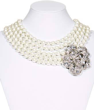 Kenneth Jay Lane 5-Strand Crystal Flower Necklace