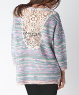 Yuka Paris Pink & Green Lace-Back Sweater