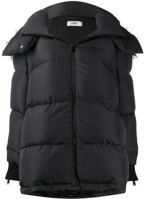 Fendi side panelled logo padded jacket