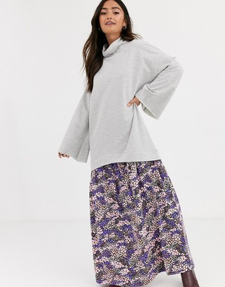 ASOS DESIGN sweat maxi dress in grey with floral print hem