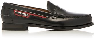 Prada Logo-AppliquAd Leather Penny Loafers