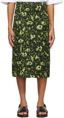 Marni Green Camouflage Cheetah Print Skirt