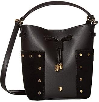 Lauren Ralph Lauren Smooth/Suede Pocket Debby III Drawstring Mini (Black) Handbags