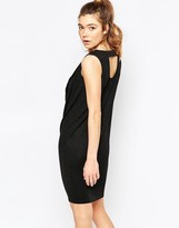 Ichi Sleeveless Ruched Neck Shift Dress With Cut Out Back