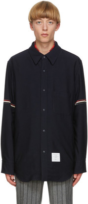 Thom Browne Navy Snap Front Shirt Jacket