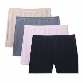 Fruit of the Loom Women's Plus Size Fit for Me 4 Pack Microfiber Slip Short Panties
