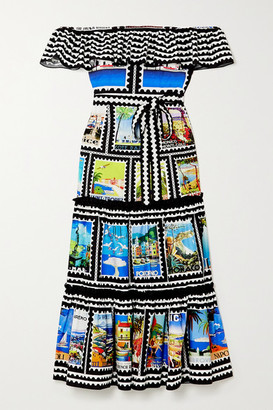 Mary Katrantzou MARY-MARE Cannes Off-the-shoulder Ruffled Printed Cotton-blend Midi Dress - Black