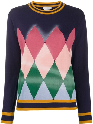 Ballantyne Diamond Airbrush crew neck sweater