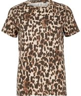 River Island Womens Brown animal print T-shirt