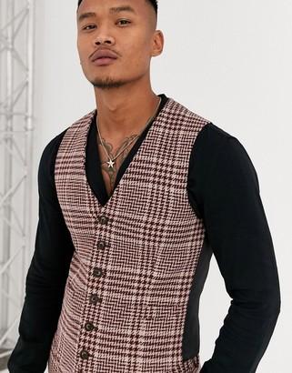 Asos DESIGN super skinny suit suit vest in burgundy and camel wool blend check