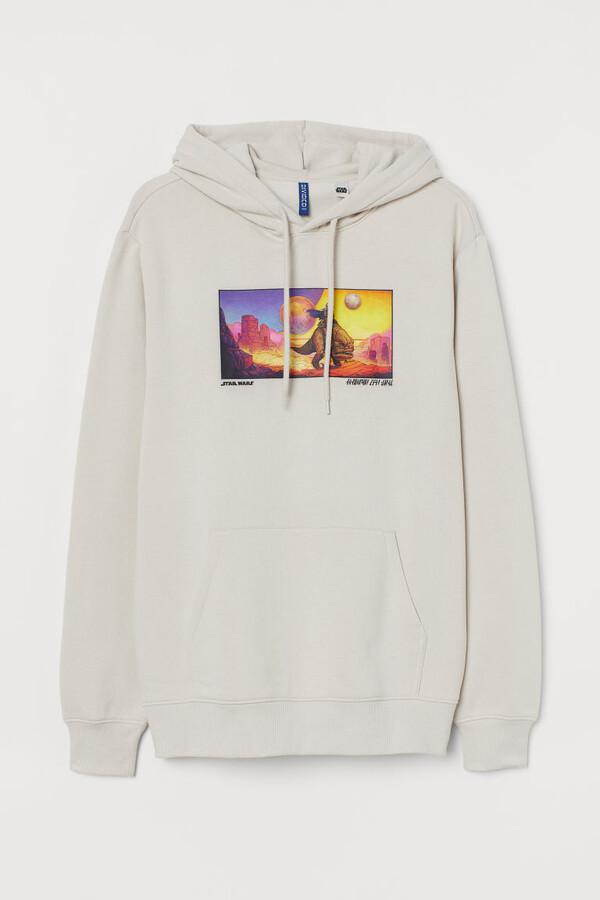 H&M Graphic-design Hoodie - Beige