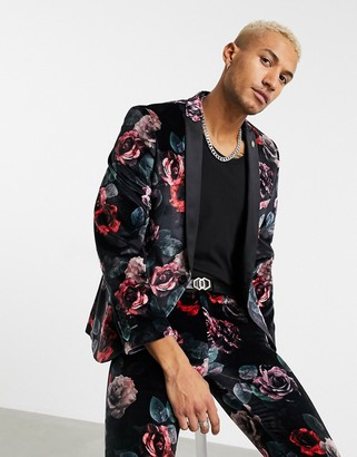 Twisted Tailor suit jacket with large floral print in black velvet