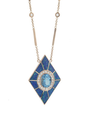 Jacquie Aiche Blue Opal Inlay with Blue Topaz Center Kite Necklace - Rose Gold