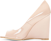 Brian Atwood Nude Patent Leather Luz Wedges