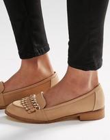 Miss KG Miller Nude Chain & Fringe Detail Flat Loafer Shoes