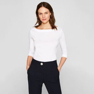 Esprit Boat-Neck T-Shirt with 3/4 Sleeves