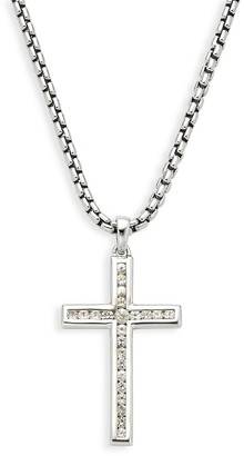 Effy Sterling Silver White Sapphire Cross Pendant Necklace