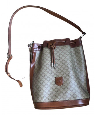 Celine Triomphe Vintage Beige Cloth Handbags