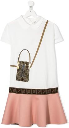 Fendi Kids TEEN FF handbag print dress
