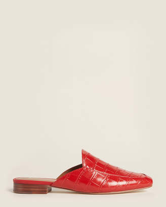 Marc Fisher Red Pam Croc-Embossed Leather Mules