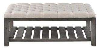 Gracie Oaks Kirt Wood Shelves Storage Bench Color: Gray, Upholstery: Cream