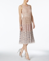 Adrianna Papell Petite Sequined Ombré Mesh A-Line Dress