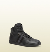 Gucci Women's Black Leather High-Top Sneaker From Viaggio Collection