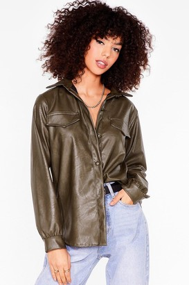 Nasty Gal Womens That's Faux Leather Gonna Work Relaxed Shirt - Sage