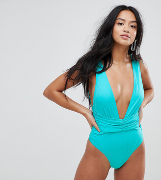 Asos DESIGN Petite recycled Plunge Ruched Front Swimsuit