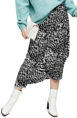 Topshop Animal Print Midi Skirt