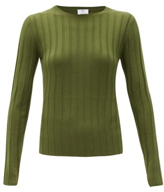 Allude Wide-rib Merino-wool Sweater - Khaki