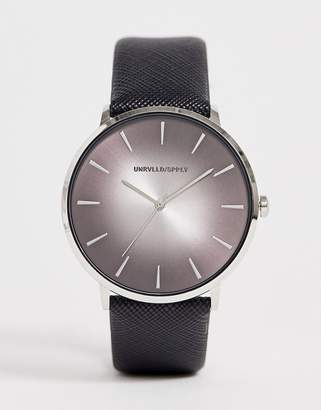 Asos Design DESIGN watch with ombre dial detail in black