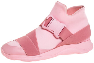 Christopher Kane Pink Nylon Safety Buckle High Top Slip On Sneakers Size 40