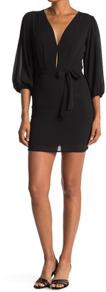 FAVLUX Deep V-Neck Waist Tie Mini Dress
