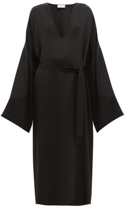 Raey Kimono-sleeve Silk Beach Dress - Womens - Black