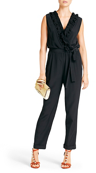 Diane von Furstenberg Bellini Silk Wrap Jumpsuit In Black