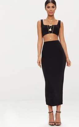 Ambredes Black Second Skin Slinky Longline Midaxi Skirt