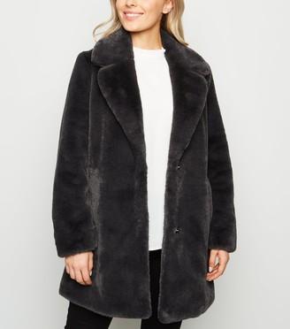 New Look Petite Faux Fur Longline Coat