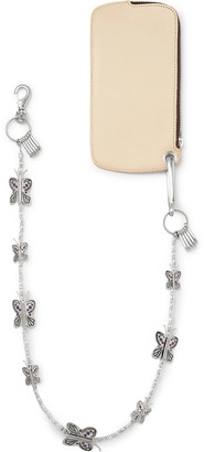 KAPITAL Butterfly Chain-Embellished Leather Zip-Around Wallet