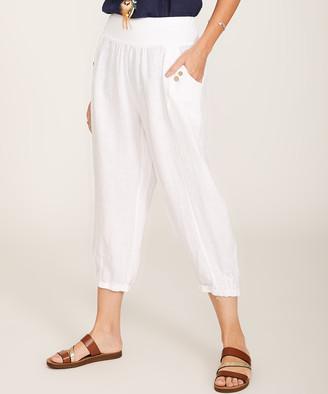 Ornella Paris Women's Casual Pants - White Button-Accent Pocket Cropped Wide-Leg Pants - Women & Plus