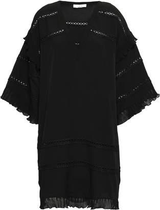 IRO Lace-trimmed Crepe De Chine Mini Dress