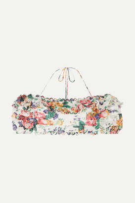Zimmermann Allia Off-the-shoulder Floral-print Linen Top - White