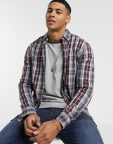 Farah Brewer plaid button down collar shirt in gray and burgundy