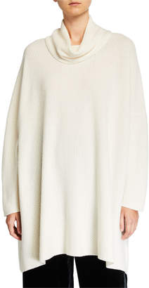 eskandar Cashmere Slim-Sleeve Cowl-Neck Sweater