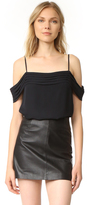 Alexander Wang Pleated Off Shoulder Silk Top