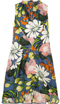 Marni Floral-print Silk Dress - Blue