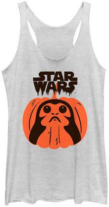 Fifth Sun Star Wars Women Porg Pumpkin Halloween Tri-Blend Tank Top