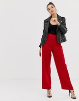 Asos Design DESIGN wide leg track pants in red with contrast side stripe